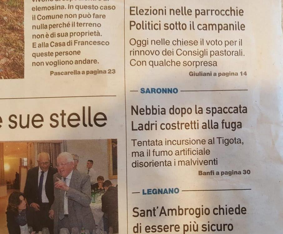 Nebbiogeno sventa furto a Saronno